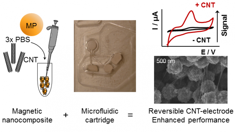 Reversible nanostructuration of microfluidic electrode devices by CNT magnetic co-entrapment