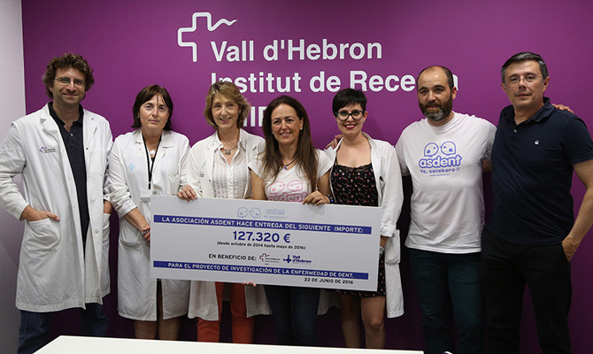 Asdent donates more than 120,000 euros to raise funds for the Dent's disease at Vall d'Hebron