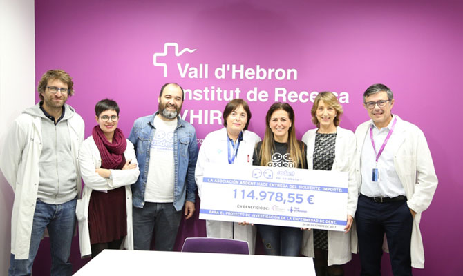 Asdent donates more than 114,000 euros for the investigation of Dent's disease in Vall d'Hebron